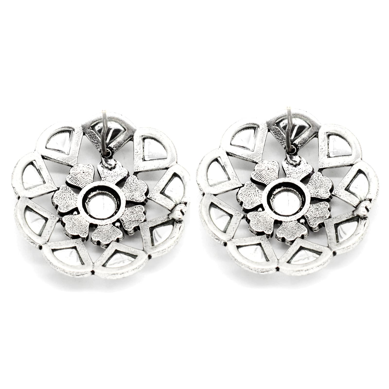 Chakra Polki Black Silver Earrings - Teejh