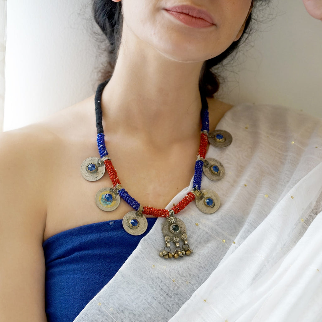 Teejh Damsa Red & Blue Afghani Coin Necklace