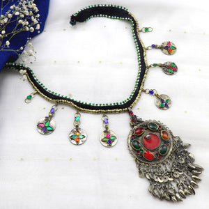 Teejh Heena Long Afghani Circular Necklace