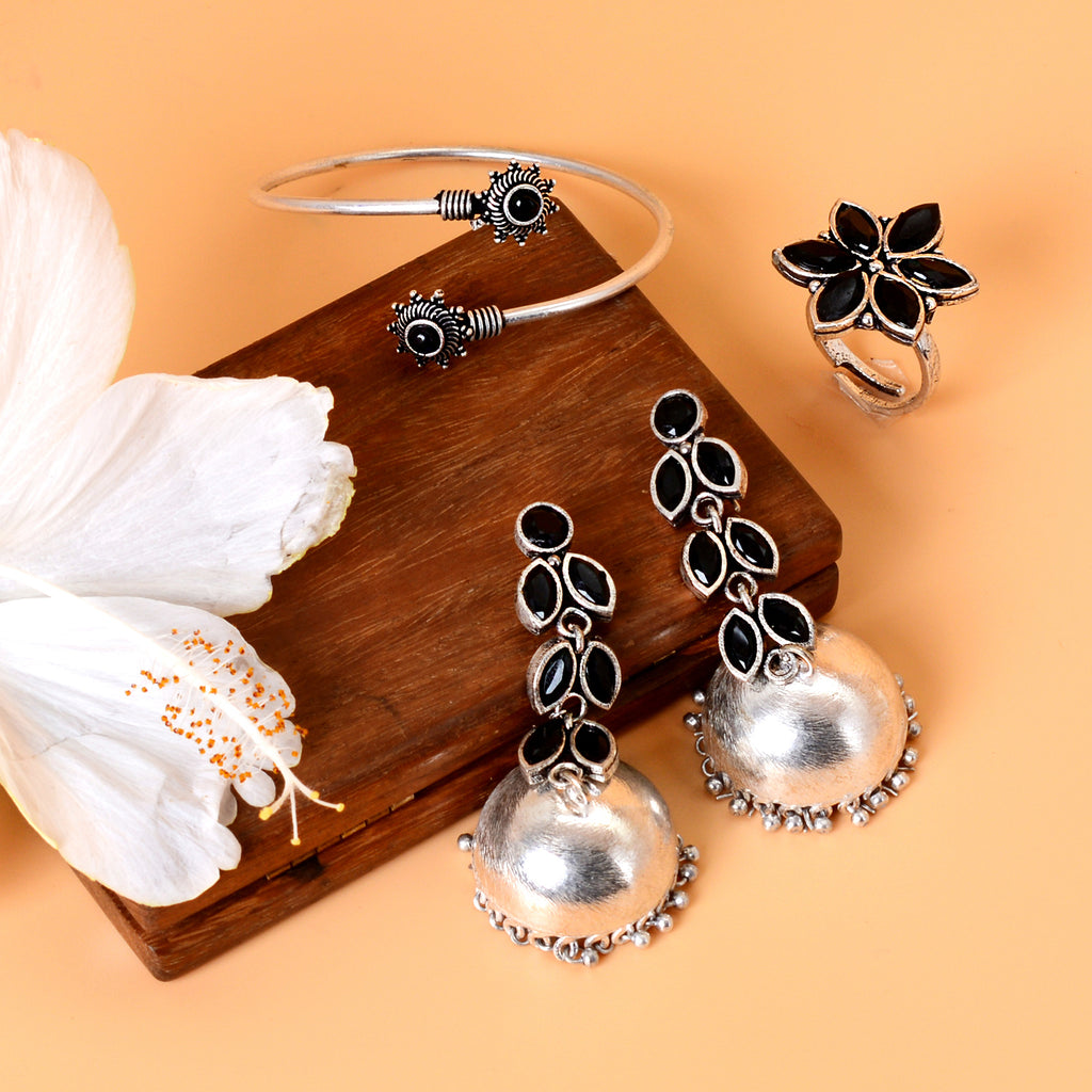 Veda Black Silver Oxidized Jewelry Gift Set - Teejh