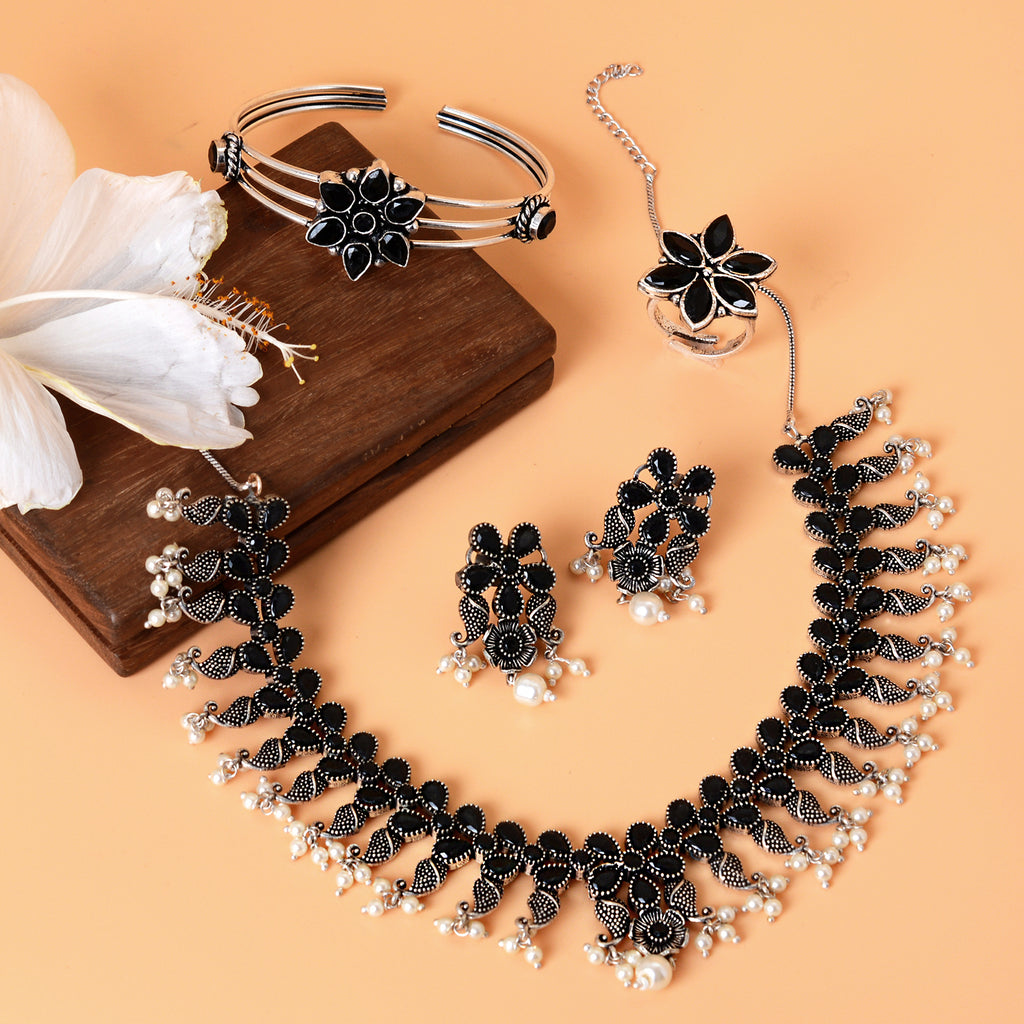 Maya  Black Silver Oxidized Jewelry Set - Teejh