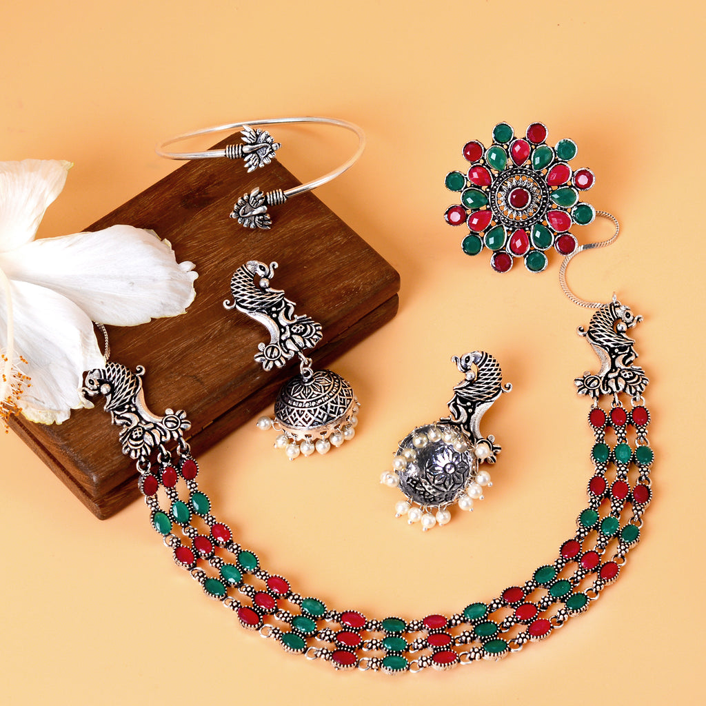 Ishi Multi Colored Silver Oxidized Jewelry Gift Set - Teejh