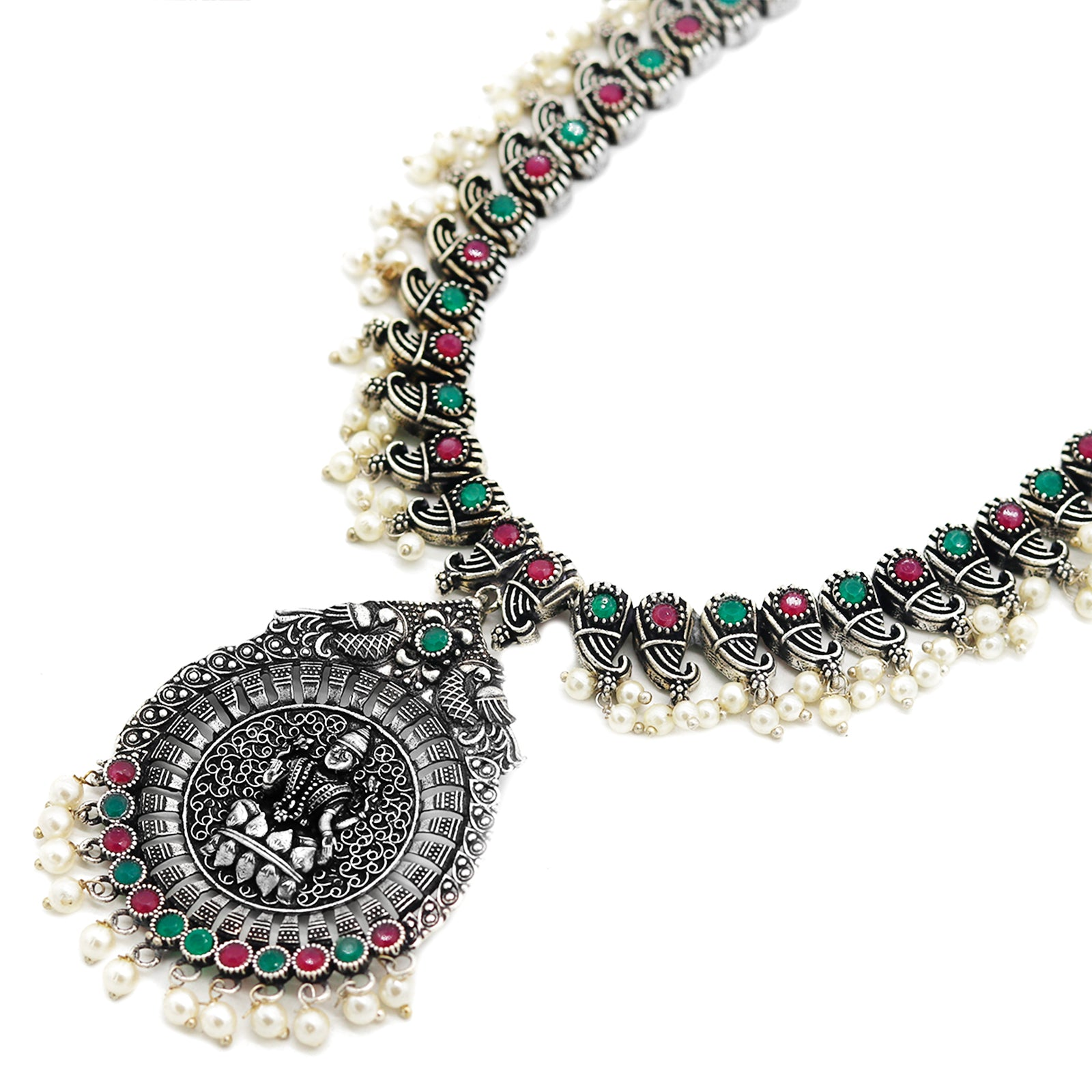 Naksh Multi Colored Silver Oxidized Jewelry Gift Set - Teejh
