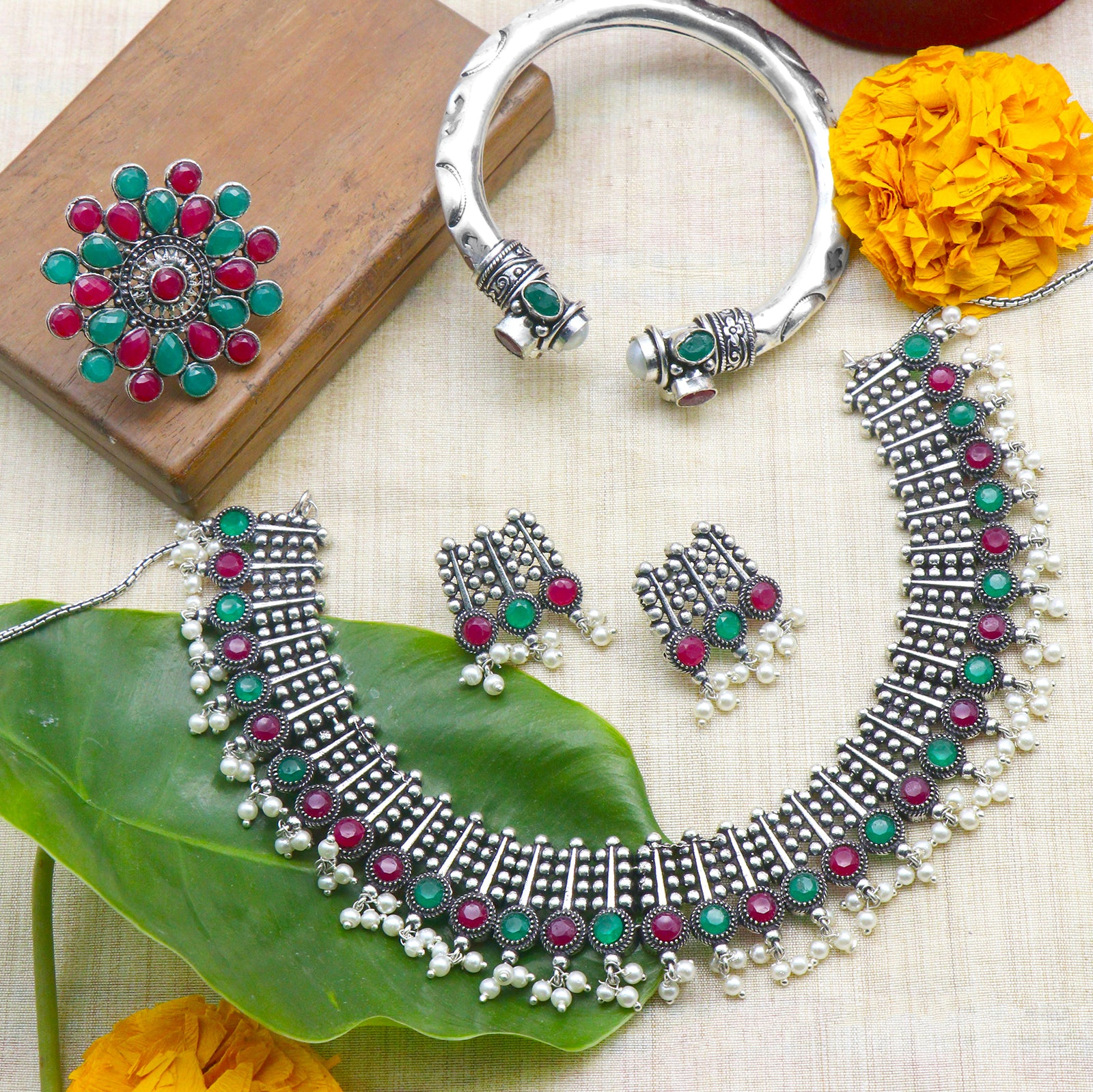 Teejh Chitra Multi colored Silver Oxidized Jewellery Gift Set - Teejh