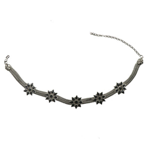 Teejh Parul Black Floral Silver Oxidised Choker Jewelry Set