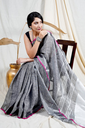 Teejh Shaam Grey and Pink Plain Linen Zari Border Saree