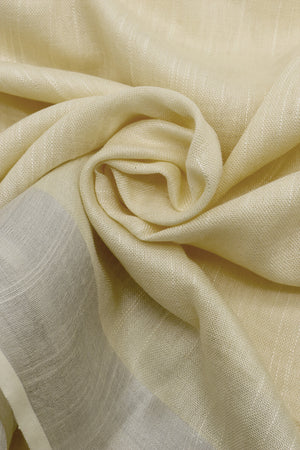 Teejh Butter Cream Cotton Linen Zari Silk Saree