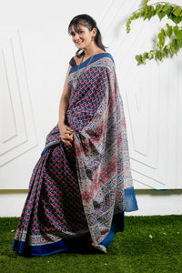 Teejh Bahaar Blue Printed Cotton Saree