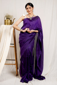 Teejh Cosmos Purple Mulmul Cotton Saree
