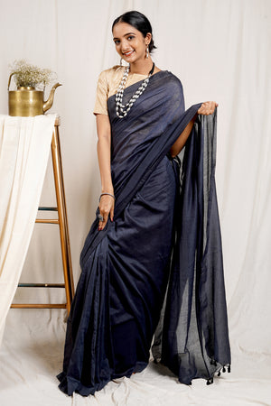 Teejh Anchor Grey Mulmul Cotton Saree