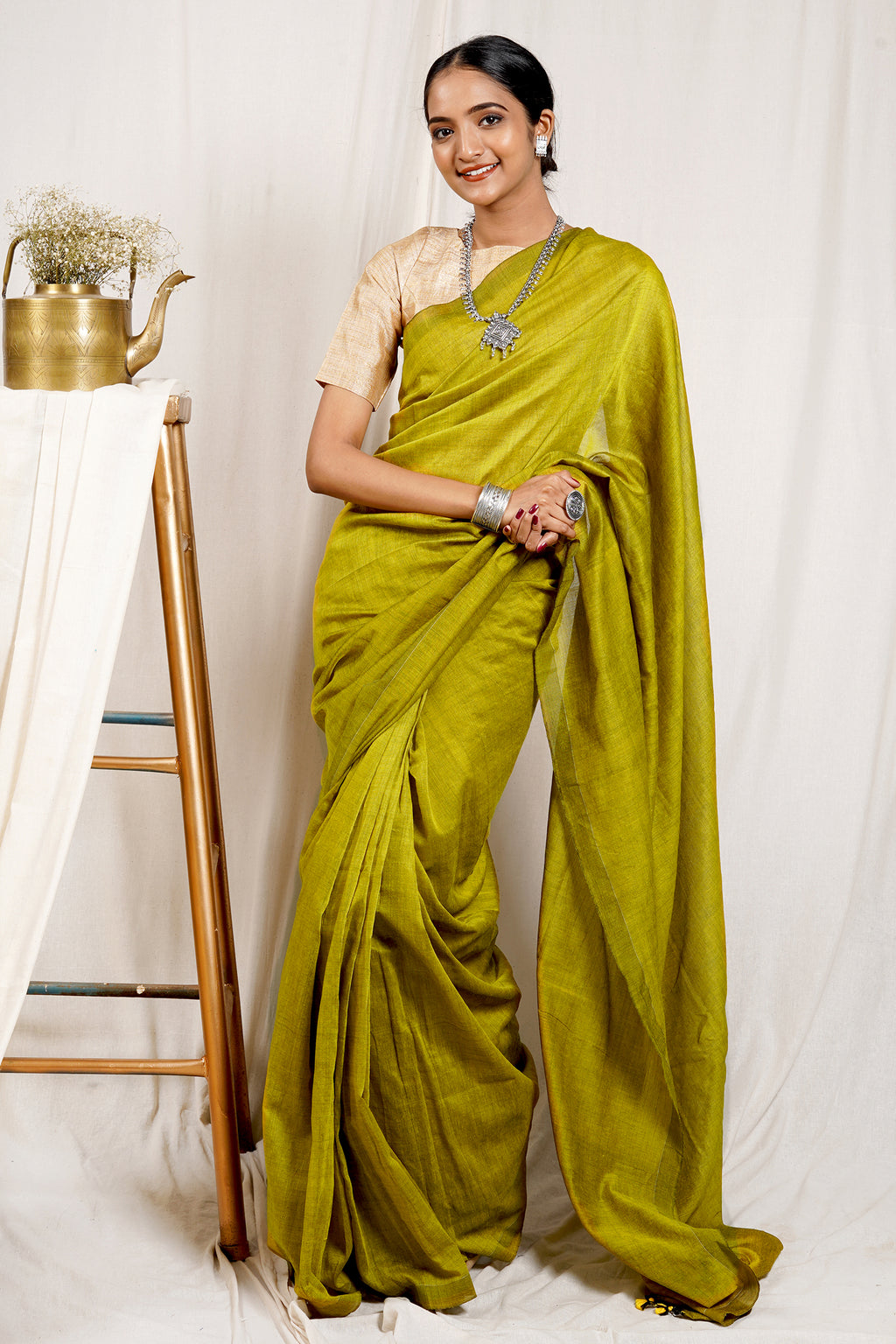 Teejh Shamrock Green Mulmul Cotton Saree