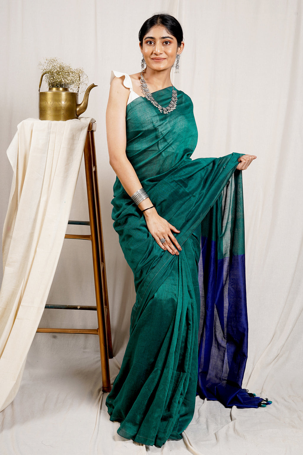 Teejh Pine Green and Blue Mulmul Cotton Saree