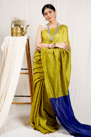 Teejh Parakeet Green and Blue Mulmul Cotton Saree