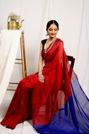 Teejh Merlot Red and Blue Mulmul Cotton Saree