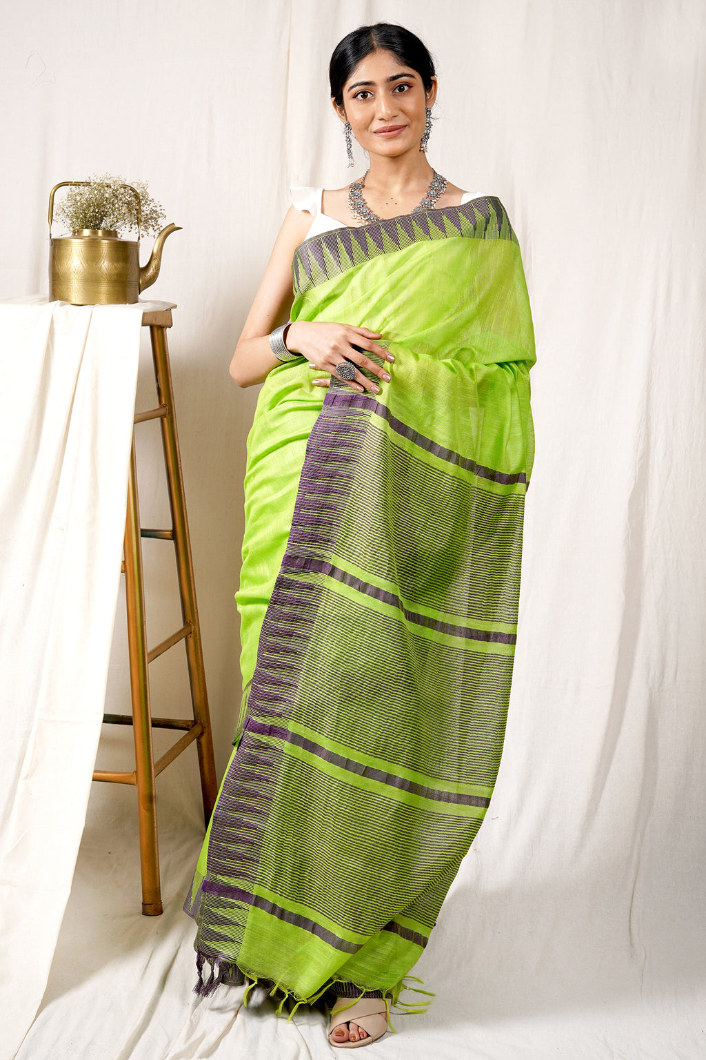Teejh Paradise Green Kota Temple Work Saree