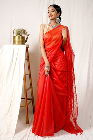 Teejh Charming Red Jamdani Kota Saree