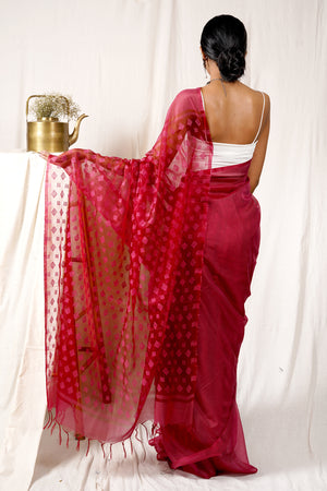 Teejh Wine Love Jamdani Kota Saree