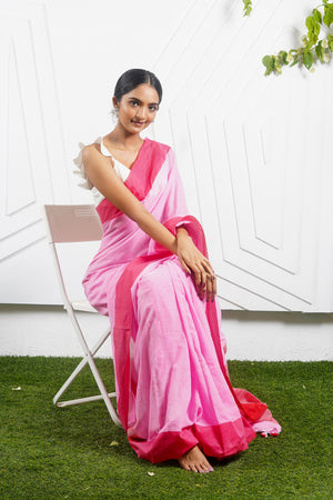 Teejh Candy Floss Pink Handloom Cotton Saree