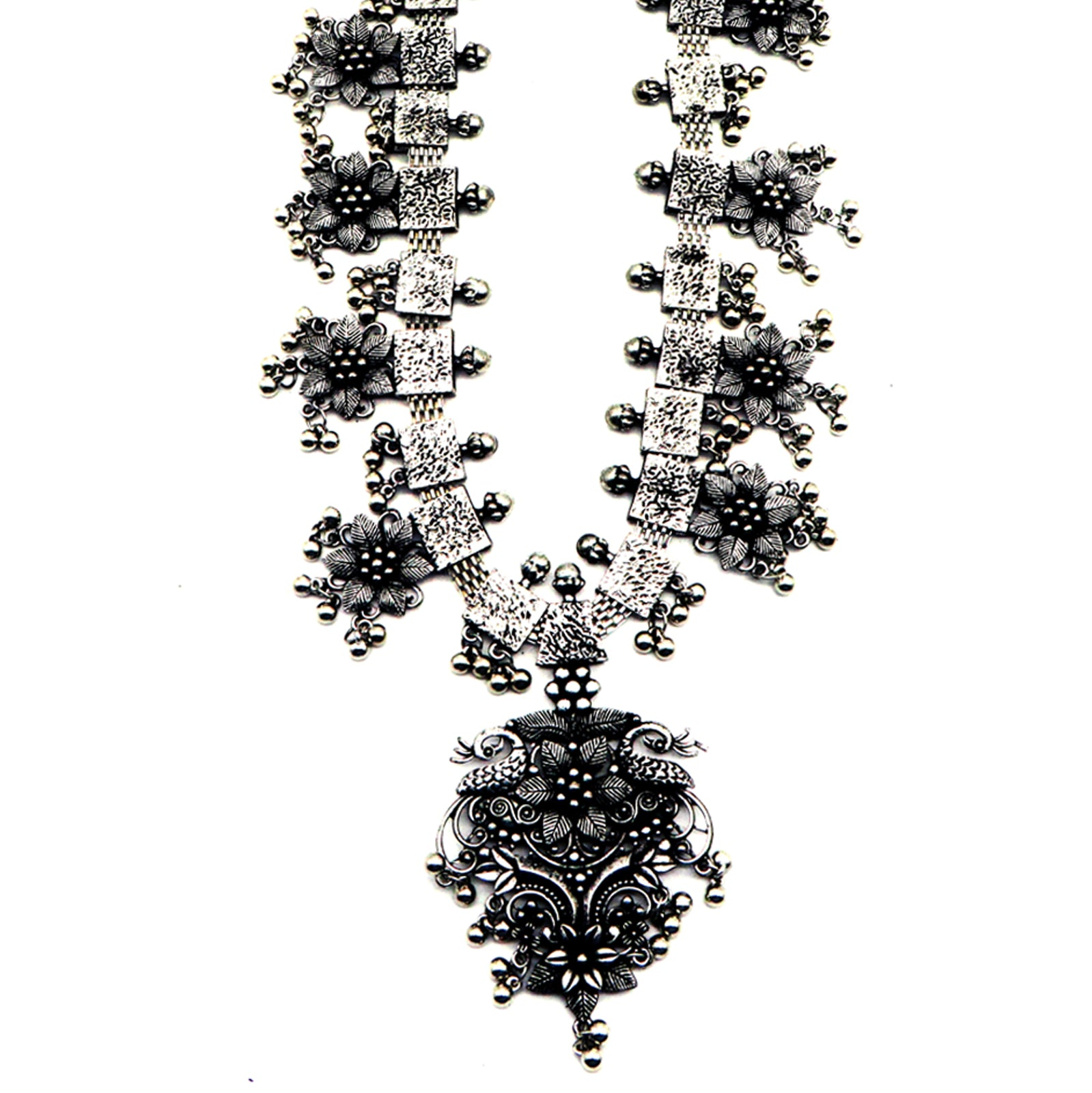 Teejh Khushi Ghungroo Silver Oxidised Necklace Set
