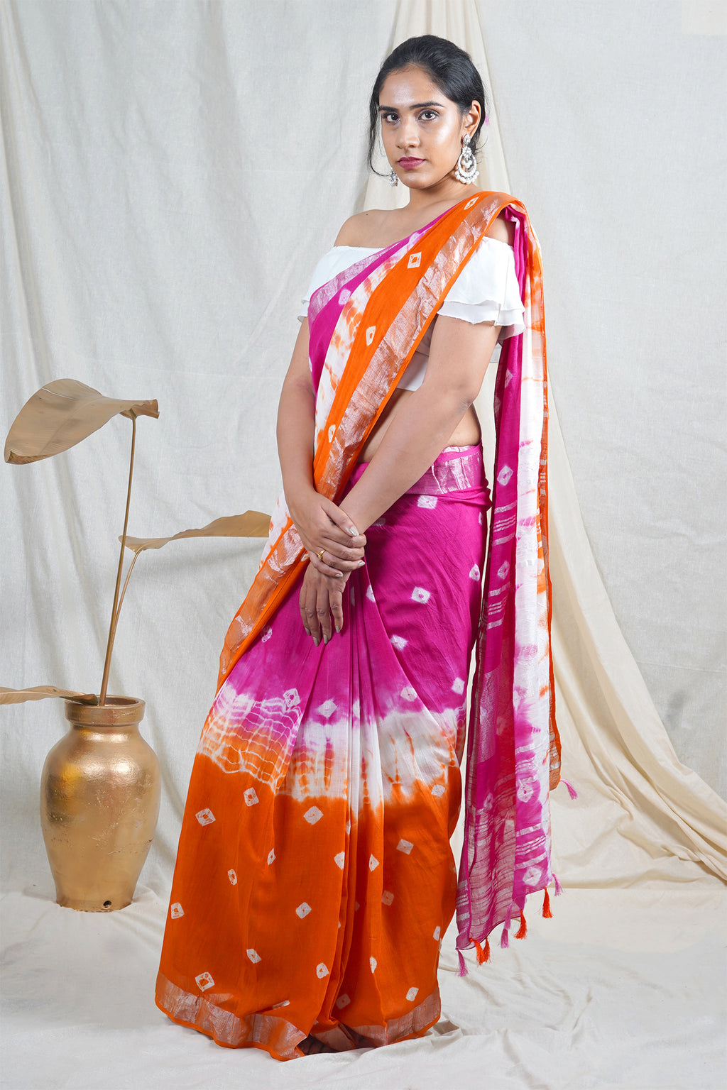 Teejh Paheli Orange and Pink Shibori Tie Dye Linen Silk Saree
