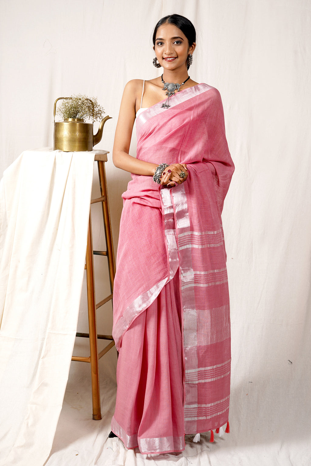 Teejh Blush Pink  Linen Silk Saree