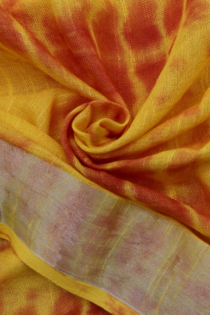Teejh Damak Red & Yellow Shibori Tie Dye Linen Silk Saree