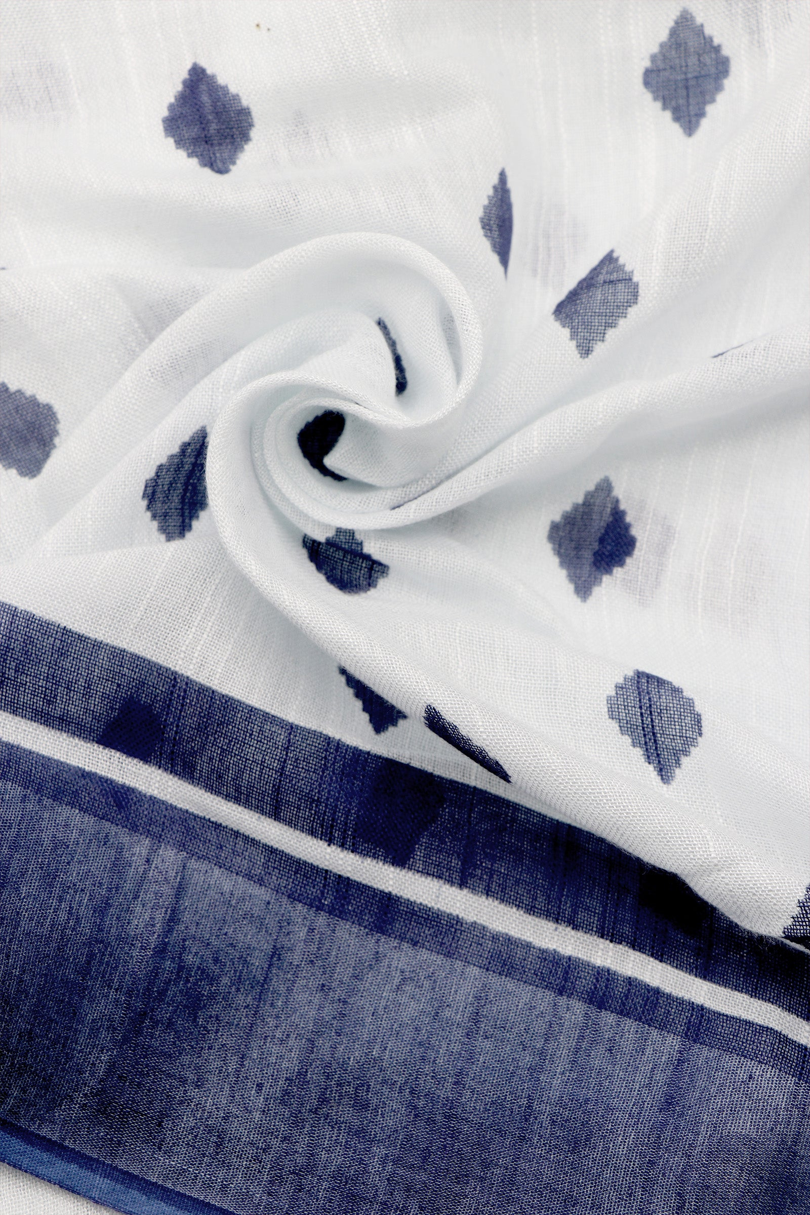 Teejh Neela Ambar Blue and White Sanganeri Hand Block Print Linen Silk Saree