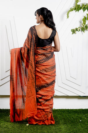 Teejh Safar Orange & Black Shibori Tie Dye Mulmul Cotton Saree