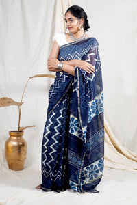 Teejh Oceanic Blue Zig Zag Hand Block Print Chanderi Cotton Silk Saree