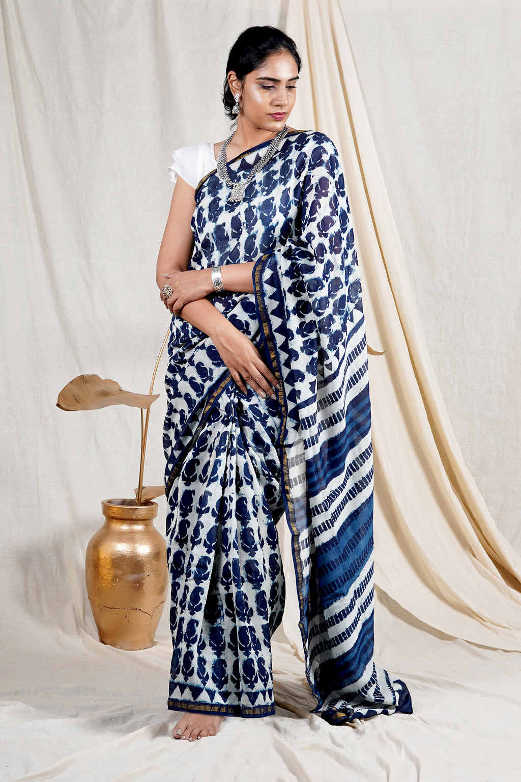 Teejh Rimjhim Blue Ambi Hand Block Print Chanderi Cotton Silk Saree