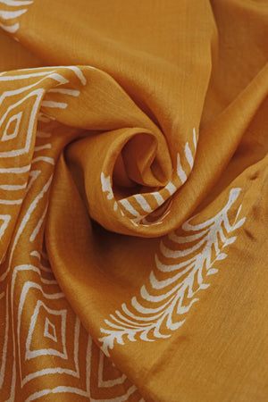 Teejh Buta Ochre Hand Block Print Chanderi Cotton Silk Saree