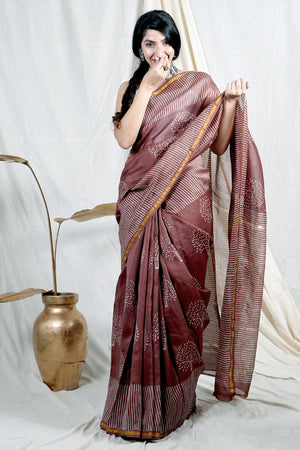 Teejh Tree of Life Brown Hand Block Print Chanderi Cotton Silk Saree