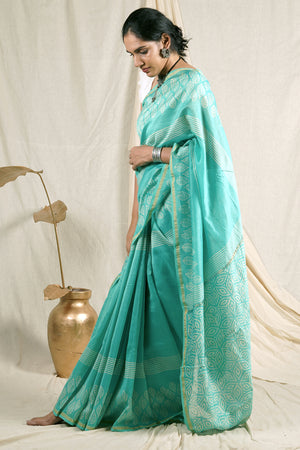Teejh Tropical Green Hand Block Print Chanderi Cotton Silk Saree