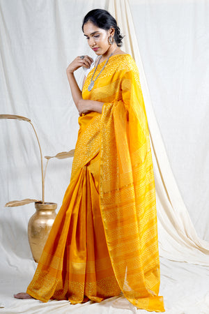 Teejh Maze Yellow Hand Block Print Chanderi Cotton Silk Saree
