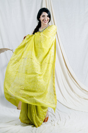 Teejh Tropical Yellow Hand Block Print Chanderi Cotton Silk Saree
