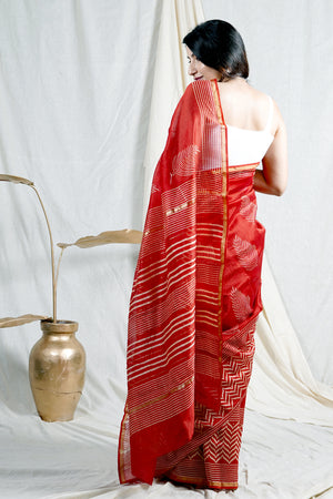 Teejh Ellora Red Hand Block print Chanderi Cotton Silk Saree