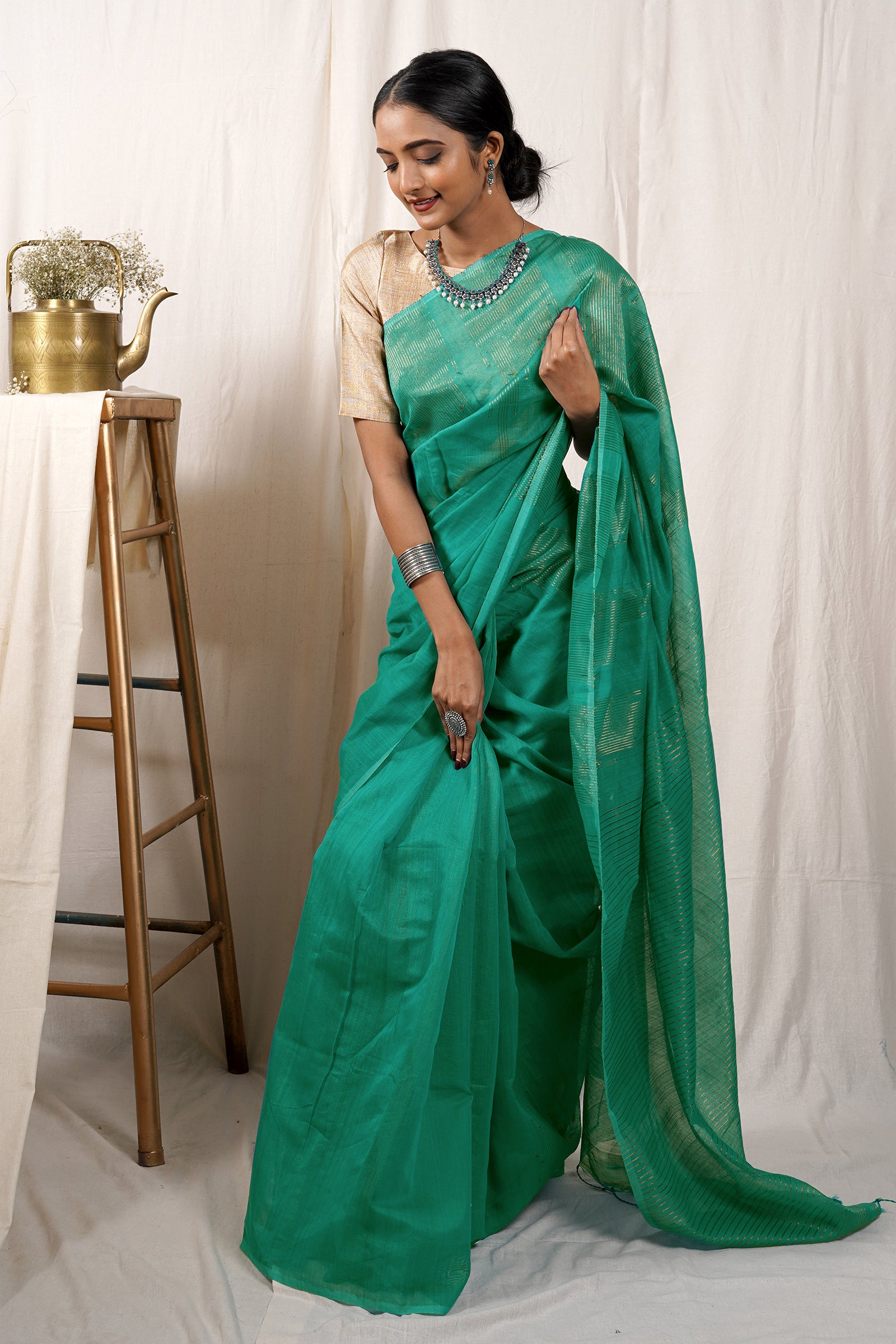 Teejh Mermaid Green Cotton Zari Silk Saree