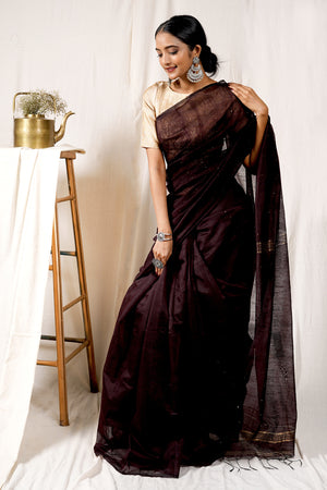 Teejh Choco Brown Handloom Box Sequin Saree