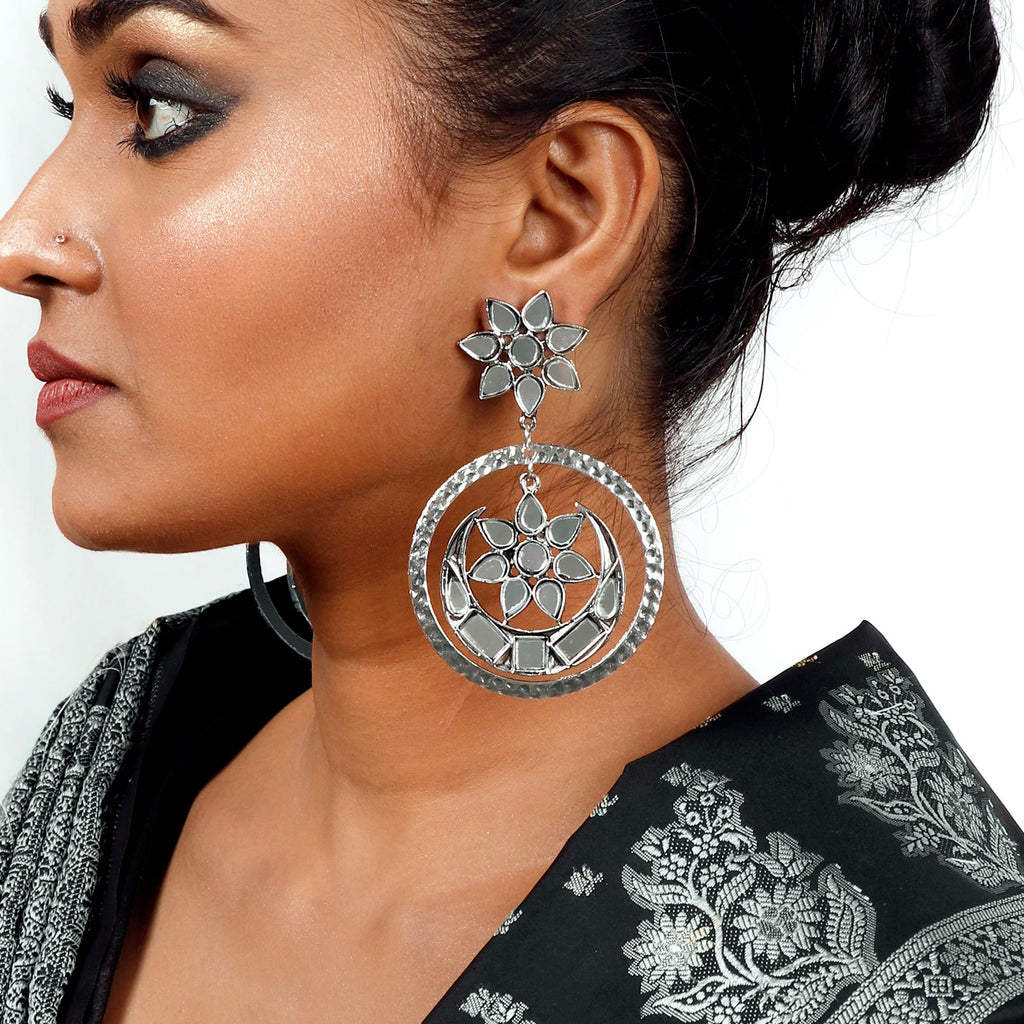 Samaya Silver Oxidized  Mirror Earrings - Teejh