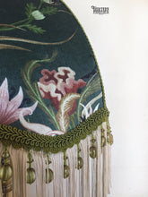 Load image into Gallery viewer, Lampshade | Green Velvet Lampshade |  Snakes and Flowers Velvet Lampshade