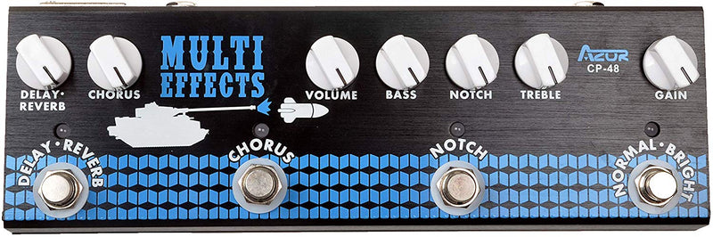 AZOR Multi Guitar Effect Pedal 4 in 1 Reverb Delay Chorus Notch Pedal with Adapter 2 Band EQ Treble and Bass