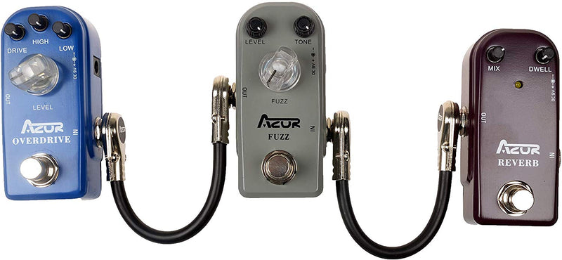 AZOR Guitar Patch Cables Right Angle 15 cm Instrument Cables for Effect Pedals 3 Pack