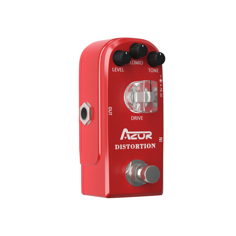 AZOR Vintage Distortion Guitar Effect Pedal with True Bypass Classical Electronic Pedal Aluminium-alloy Red AP-319