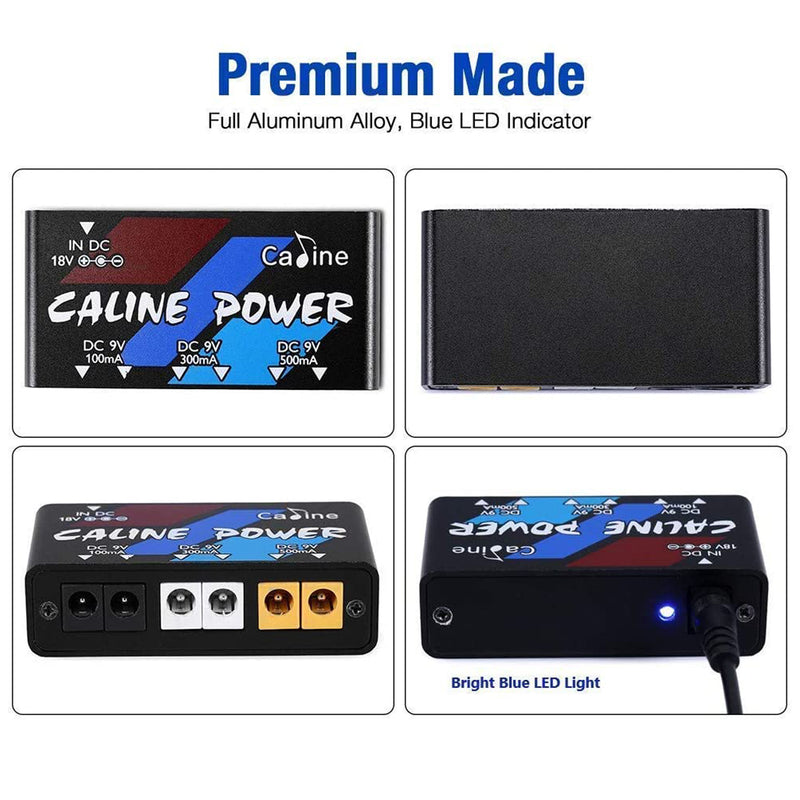 Caline Guitar Pedal Power Supply 6 Output 100MA 300MA 500MA Effect Pedals with Short Circuit Overcurrent Protection CP-02