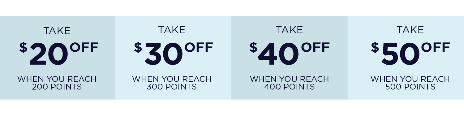 Take $20 off when you reach 200 points | Take $30 off when you reach 300 points | Take $40 off when you reach 400 points | Take $50 off when you reach 500 points