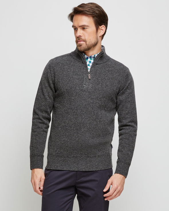 Hamish Lambswool 1/2 Zip Knit - Charcoal
