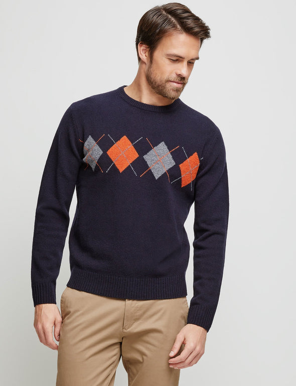 Trent Lambswool Knit - Navy