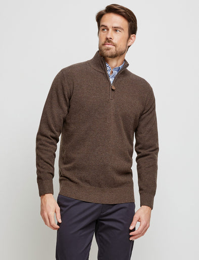 Merino Cotton 1/2 Zip Knit - Coffee