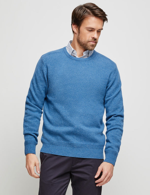 Perry Lambswool Crew - Blue