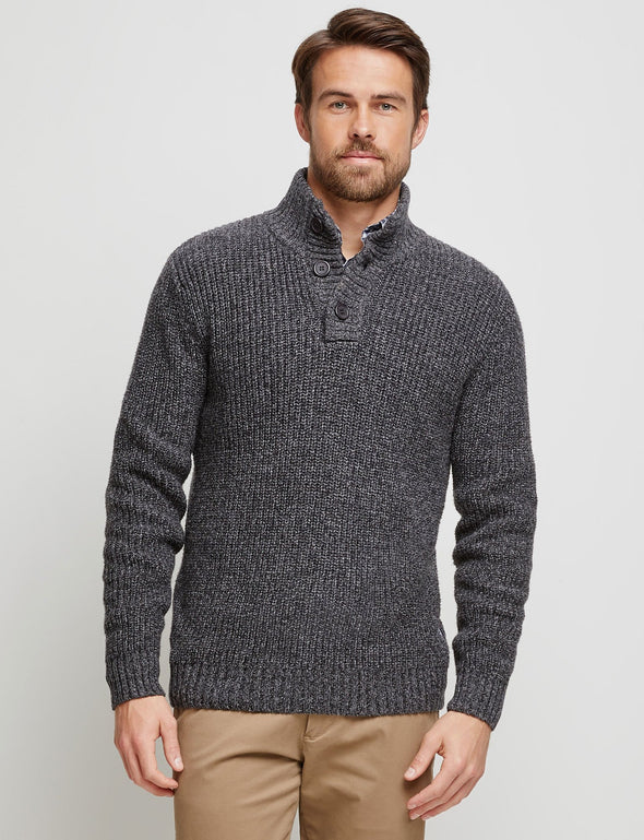 Oscar Button Neck Knit - Charcoal